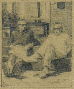 two seated men with sunglasses