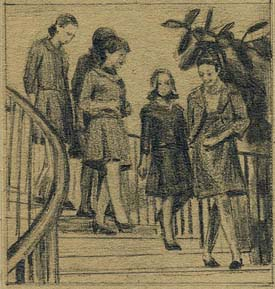 women descending the stairs